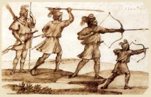 Federzeichnung, Jäger, Bogen, Jägerstudie