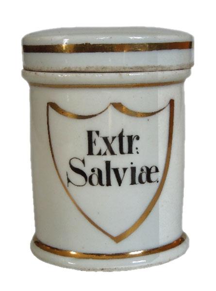 altes Arzneigefäß mit Golddekor aus Porzellan