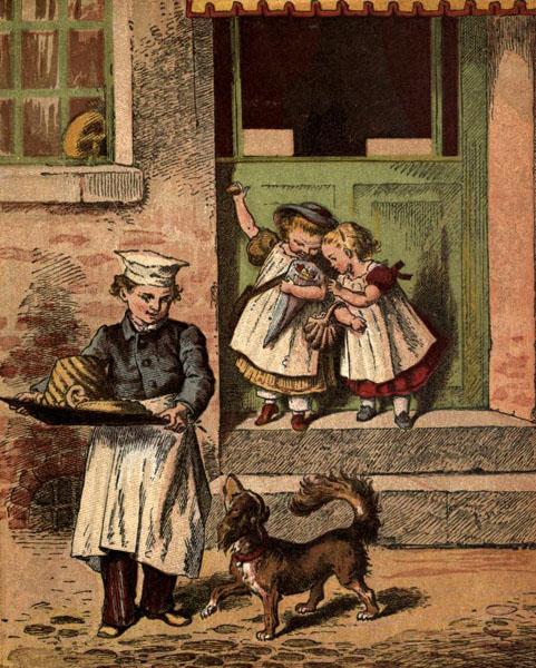 farbige Illustration: Bäckersjunge mit Tablett auf dem Backwaren sind. Hund bettelt.