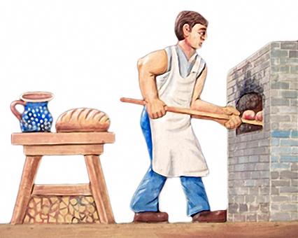 farbiger Holzschnitt: Bäcker schiebt Brote in den Ofen
