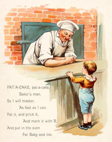 farbige Illustration mit englischem Text: Bäcker hinter, Junge vor dem Tresen