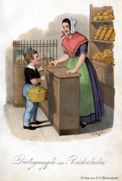 farbige Illu: Junge kauft im Bäckerladen ein, Verkäuferin steht hinter der Theke