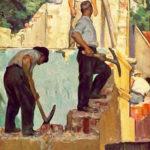 Gemälde: Bauarbeiter beim Abriss eines Gebäudes