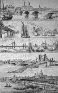 sw-Zeichnung: sechs verschiedene Brückenkonstruktionen