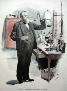 Farbstich: Chemiker im Chemielabor