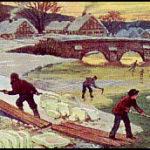 Sammelbild: Eishacker hacken und fischen Eis aus dem Fluss