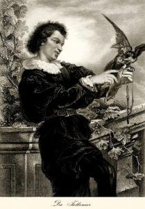 sw-Stich: junger Falkner mit Vogel