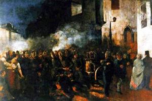 Gemälde: Brandbekämpfung