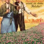 Reklame: zwei Gärtner unterhalten sich über Blumenpracht