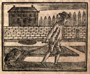 alte Zeichnung: Gärtner zieht Walze hinter sich her