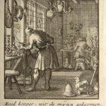 Stich: niederländische Glockengießerei, mit Sinnspruch