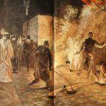 farbiger Stich: Arbeiter und Zuschauer beim Glockenguss