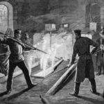 sw-Stich: Gießerei: Arbeiter und Zuschauer beim Glockenguss