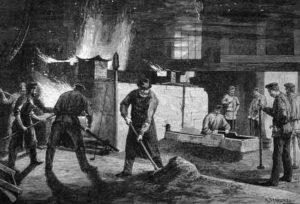 sw-Stich: Gießerei: Menschen bei der Arbeit: Glockenguss