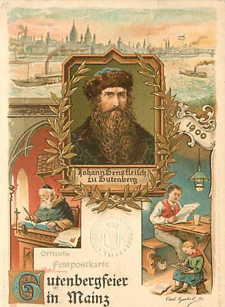 Festpostkarte anlässlich der Gutenbergfeier in Mainz