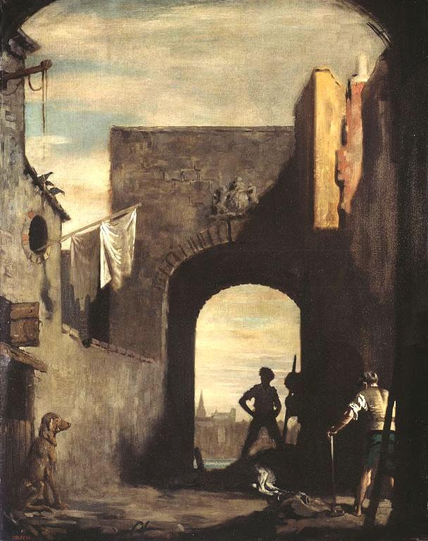 Ölgemälde: Abdeckerei, vor Torbogen der Stadtmauer
