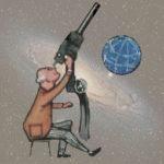 Astronom guckt durch Fernrohr