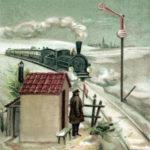 Zug kommt angefahren: Bahnwärter steht vor seinem Bahnwärterhäuschen