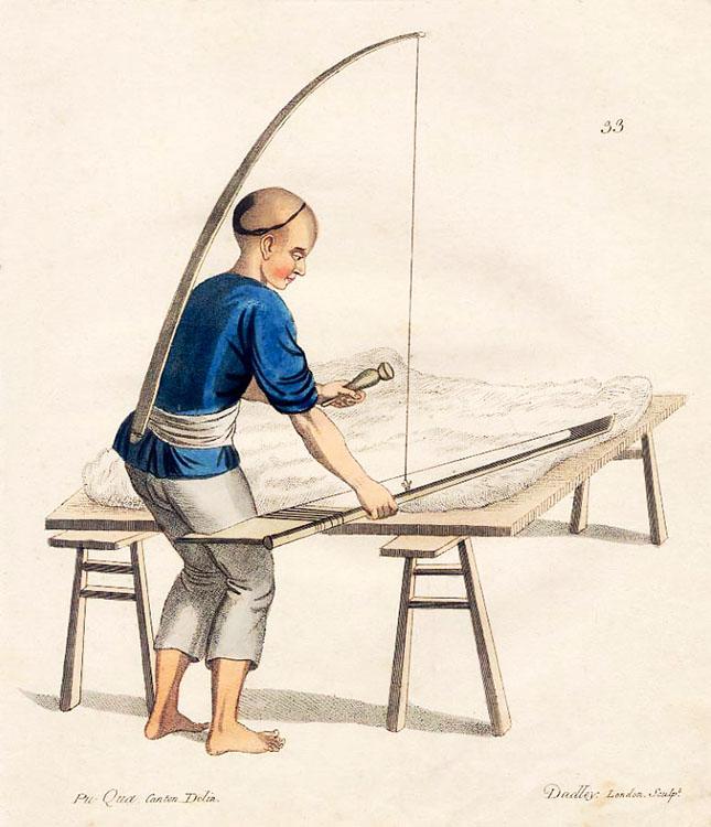 chinesischer Arbeiter reinigt mit einem Gerät die Baumwolle