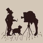 Scherenschnitt: Mann und Hund beim Fotograf