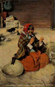 Korbmacherin, Körbe flechten, Indianerin