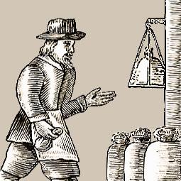 alte Zeichnung: Müller wiegt Säcke