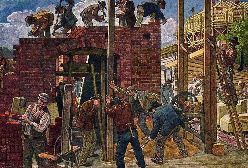 Arbeiter beim Hausbau