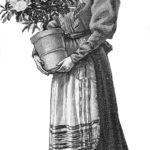 Illustration: Blumenhändlerin mit Blumentopf in der Hand