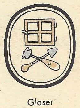 Zunftzeichen: Glaser: Fenster und Werkzeuge