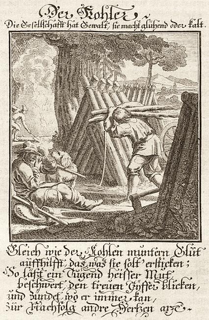 Stich: Köhler und Köhlerhütte plus Sinnspruch