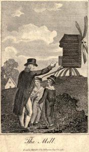 alte Zeichnung: Mann zeigt zwei Kindern die Mühle auf dem Hügel