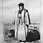 Stich: Schweinehirt in großem Mantel