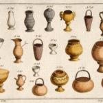 Tongefäße, Mittelalters. Lithografie, Töpferei