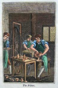 alter Holzstich: Töpfer in der Töpferei
