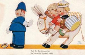 Verkehrspolizist, Humor, Kinder auf Esel