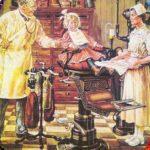farbige Illustration; kleines Mädchen mit verbundener Backe auf dem Zahnarztstuhl