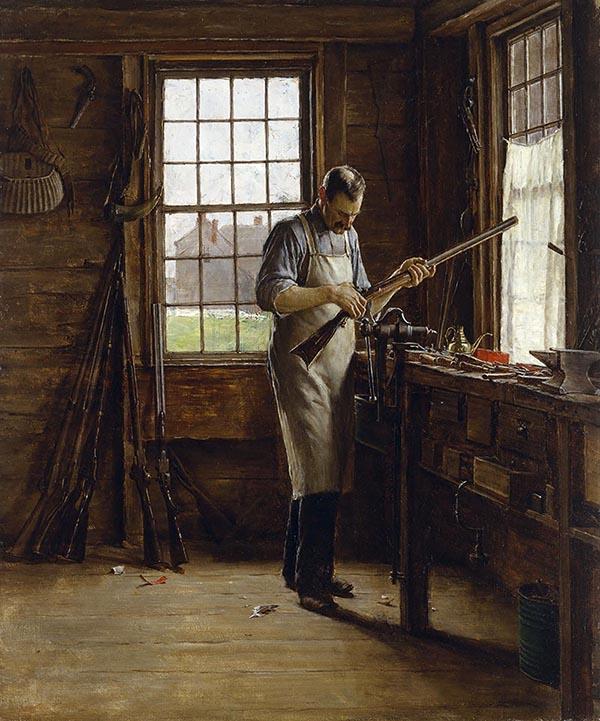 Gemälde: Büchsenschmied in seiner Werkstatt arbeitet an einer Flinte - 1890, USA