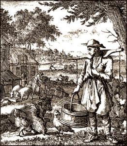 Bauernhof, Landmann, Bauer, Hühner, Gänse, Schweine, Kühe