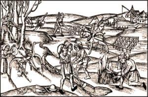 Bauern, Feldabeit, Ackerbau, Mittelalter, Jagd, Fischen, Hausbau