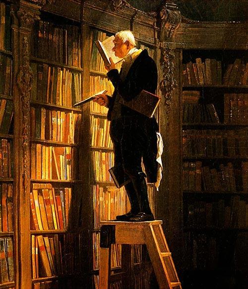 Gemälde: Bibliothekar steht auf Leiter in ein Buch vertieft, vor Bücherregalenei