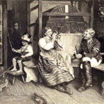 Kutscher, Postkutscher, Posthorn, Stockpeitsche, Familie