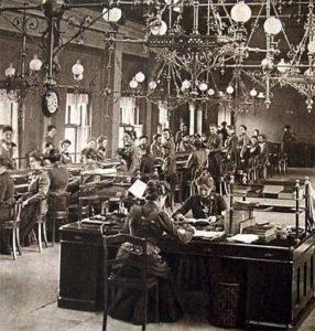 Telefonistinnen, Telefonvermittlung, Fersprechamt, Großraumbüro
