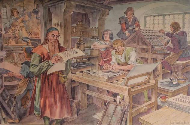 viele Arbeiter in einer Buchdruckwerkstatt