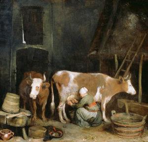 Magd, Milchkuh, melken, Stall, Gemälde