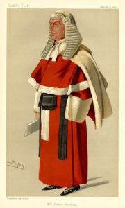 Zeichnung: Richter in roter Robe mit weißer langer Perücke