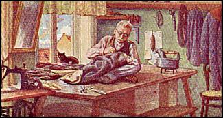 Schneider näht in seiner Stube