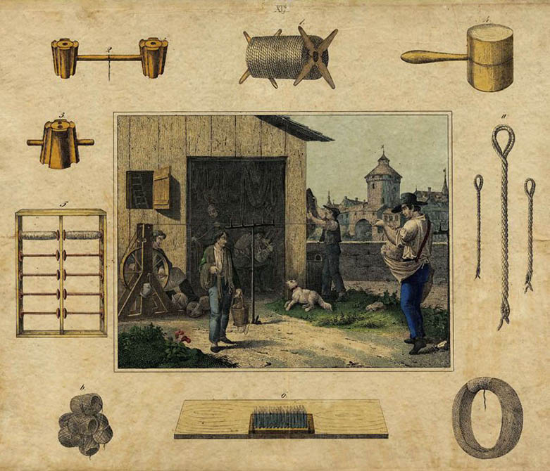 Die Seiler bei ihrer Berufsausübung. Drumherum die Werkzeuge und Gerätschaften der Seiler.