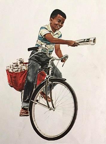 Zeichnung: Zeitungsjunge trägt mit Fahrrad Zeitungen aus.