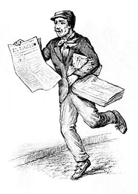 sw-illu: Zeitungsverkäufer rennt und bietet Zeitung an