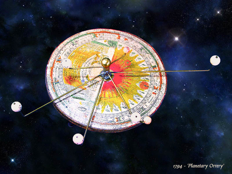 Farbfoto: Plantary Orrery - mechanisches Gerät, das die relativen Bewegungen einiger Planeten anzeigt